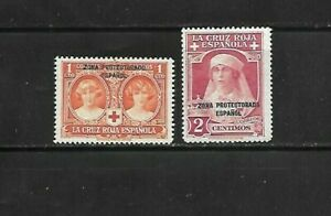 SPANISH MOROCCO 1926 SC B1-2 WITH 2 LINE BLACK OVERPRINT MLH RED CROSS  STAMPS
