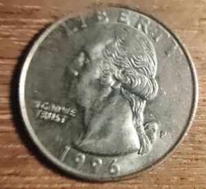 1996 P Washington quarter  error.