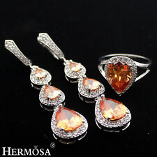 Jewelry Sets AAA 925 Sterling Silver Natural Morganite Earrings,Ring Size 8
