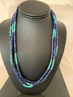 """Navajo Native American Sterling Silver Lapis 3S Turquoise Necklace 21""""Gift 01011"""