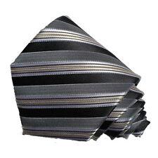 Men's black and silver grey striped  woven  tie