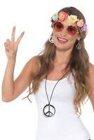 Women's 1970's Hippie Festival Fancy Dress Kit Band Glasses Medallion Earrings