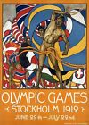 "Vintage Illustrated Poster CANVAS PRINT Olympic Games 1912 Stockholm 24""X16"""