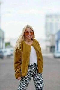 Zara AW 2018/20 Mustard Yellow Faux Fur Jacket Coat Size S Free P&P Brand New