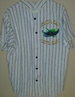 vintage Tampa Bay Devil Rays pin stripe baseball button jersey Large