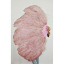 "Beige&Wood 2 layers Ostrich Feather Fan Burlesque dancer  30""x 54"" gift box"