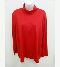 The Tog Shop Womens Size Large? Blouse Red Turtleneck Long Sleeves Back Zip B3
