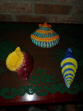 Nautical Decor NEW 3-Sea Shells Clay Sculpture Wall Art Hand Crafted In Italy