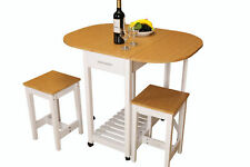 New 3 Piece Kitchen Island Breakfast Bar Set with casters, with 2 Stools