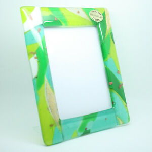 Green White Gold Murano Glass Photo Picture Frame Venice 11x8cm 13x11cm 15x13cm