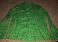 Liz Claiborne womens size XL green long sleeve button down 100% linen shirt