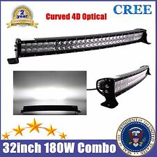 4D 32inch 180W LED CREE Curved Light Bar Flood Spot Beam 4×4WD UTE ATV PICKUP 33