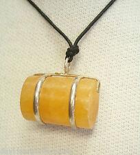 Ciondolo in ARGENTO 925 con PIETRA DURA naturale arancione e girocollo -pendente