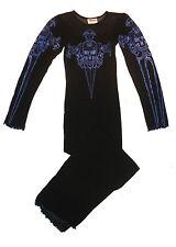 BLACK & BLUE Skull Axe Long Sheer Mesh DRESS CYBER GOTHIC PUNK EBM Clubbing