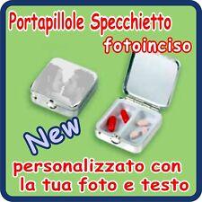 PORTAPILLOLE SPECCHIO Silver Plated PERSONALIZZATO!!!
