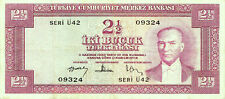 TURKEY 2 1/2 LIRA 5 Ems.1957.VF++ (7+7,5 / 10) P.152 SERIAL Ü42