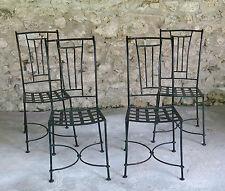 CHAISE en MÉTAL et FER FORGÉ, 4 très belles chaises en fer forgé, jardin .