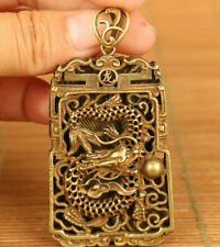 chinese old bronze Hand carving dragon statue netsuke pendant gift Amulets
