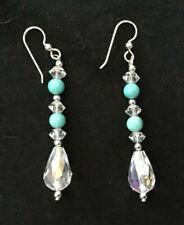 Earrings, genuine Turquoise and Crystal beads,Handmade.-