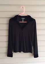 Ralph Lauren women's M black long sleeve super soft top with velvet trim