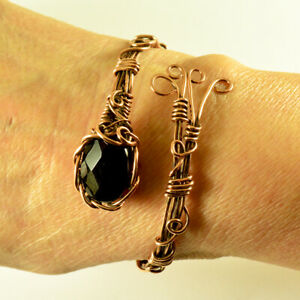 Women's Natural Onxy Crystal Wire Wrapped Copper Cuff Handmade Bracelet
