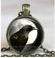 "Sky Moon & Raven Bird Pendant Charm Handcrafted Jewelry 1"" Bronze Setting"