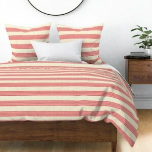 Texture Stripes Modern Country Feed-Sack Grain Sateen Duvet Cover by Roostery