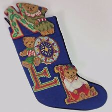 Christmas Stocking Vintage Needlepoint Noel Bears Navy Blue Velvet Back Piping