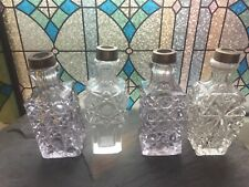 SET OF FOUR ART DECO VINTAGE CUT LEAD CRYSTAL GLASS PERFUME BOTTLES FOR DISPLAY
