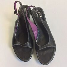 Indigo By Clarks Women's Leather Buckle Peep Toe Sling Backs Sandals Black 81/2M