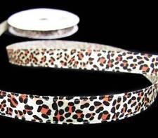 "5 Yds Animal Leopard Cheetah Satin Ribbon 3/8""W"
