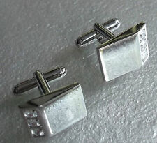 Cufflinks Vintage Mens Cuff Links 1980s 1990s SILVERTONE DIAMANTE INSET FEATURE