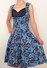 LINDY BOP Ophelia Parisian Rose Blue Dress Print 50s Retro Swing UK 10 WITH  TAGS b9043b68f