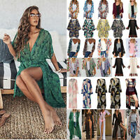 Ladys Boho Floral Kimono Cardigan Summer Holiday Loose Top Blouse Beach Cover Up