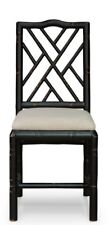 """39"""" H Set of Two Bamboo Dining Chair Birch Wood Black Finish Linen Fabric"""