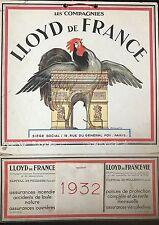 LLOYD DE FRANCE CALENDRIER  AVEC SA PETITE POCHETTE 1932