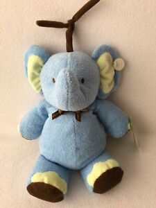 Carters Blue Green Brown Elephant Musical Pull Crib Toy NWT