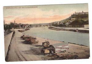 AK Würzburg von der Luitpoldbrücke -mit Möbelwagen und Pferdewagen- am Main RAR