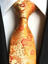 181KT luxury mens 100% silk neck tie gold flowers wedding party prom gift ties