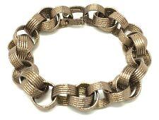 "Italian 14k Brown Gold Textured Round Double Link Bracelet 7.5"" 16.3 grams"