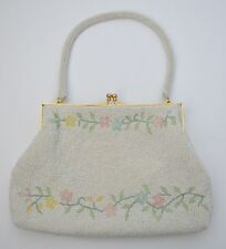 UNUSUAL VINTAGE 1950s CREAM BEADED EVENING BAG WITH FLORAL DESIGN