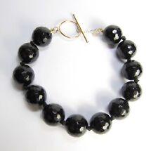 13.87 CTW Black ONYX 10K Yellow GOLD Briolette Bracelet