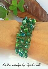 Bracciale artigianale rame verde e cristalli bracelet copper green crystals