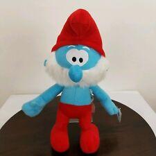 "Nanco The Smurfs 15"" Papa Smurf Plush Stuffed Doll Toy  2010 Blue Red"