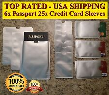 6 Passports & 25 Credit Cards Sleeves RFID Blocking Identity Theft & Protection