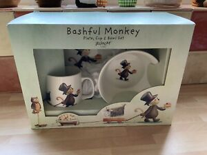 Jellycat London Bashful Monkey Bone China Childs Plate Cup Bowl Dinner Set *New*