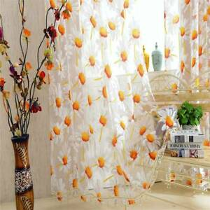Modern Sunflower Floral Tulle Curtain Blinds Voile Sheer Panel Drapes Home Decor