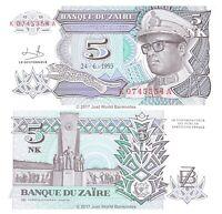 Zaire 5 Nouveaux Makuta 1993 P-48 Banknotes UNC