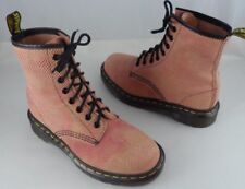 RARE VINTAGE DOC DR. MARTENS BOOTS UK 4 ~ US 6 - 6.5 PINK LEATHER w/ BROWN PRINT