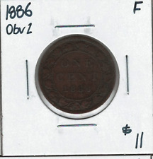 Canada 1886 Large 1 Cent Obv. 2 F Lot#2